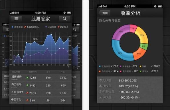 Screenshots of the iOS version of StocKeeper