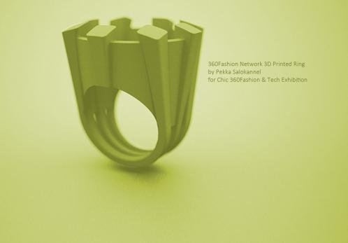 360Fashion Network 3D Printed Ring by Finnish 3D printing designer Pekka Salokannel