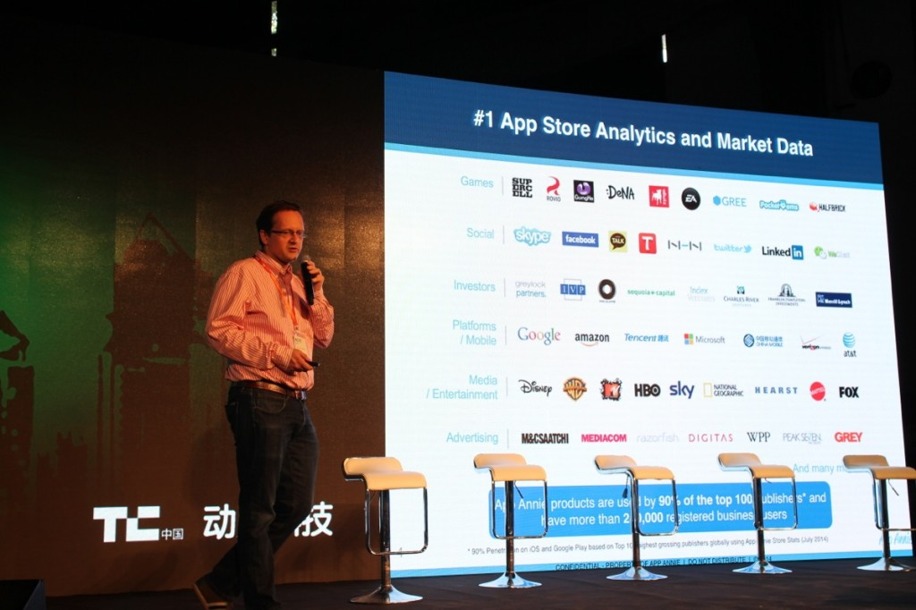 App Annie CEO Bertrand Schmitt shares the company's latest report at TechCrunch Beijing 2014