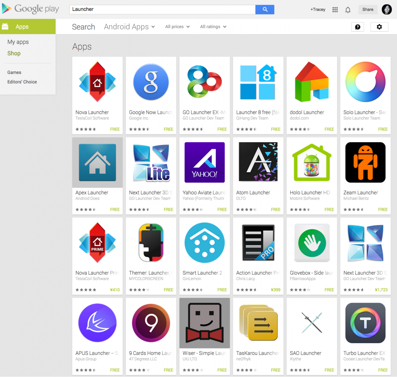 Android Launchers on Google Play