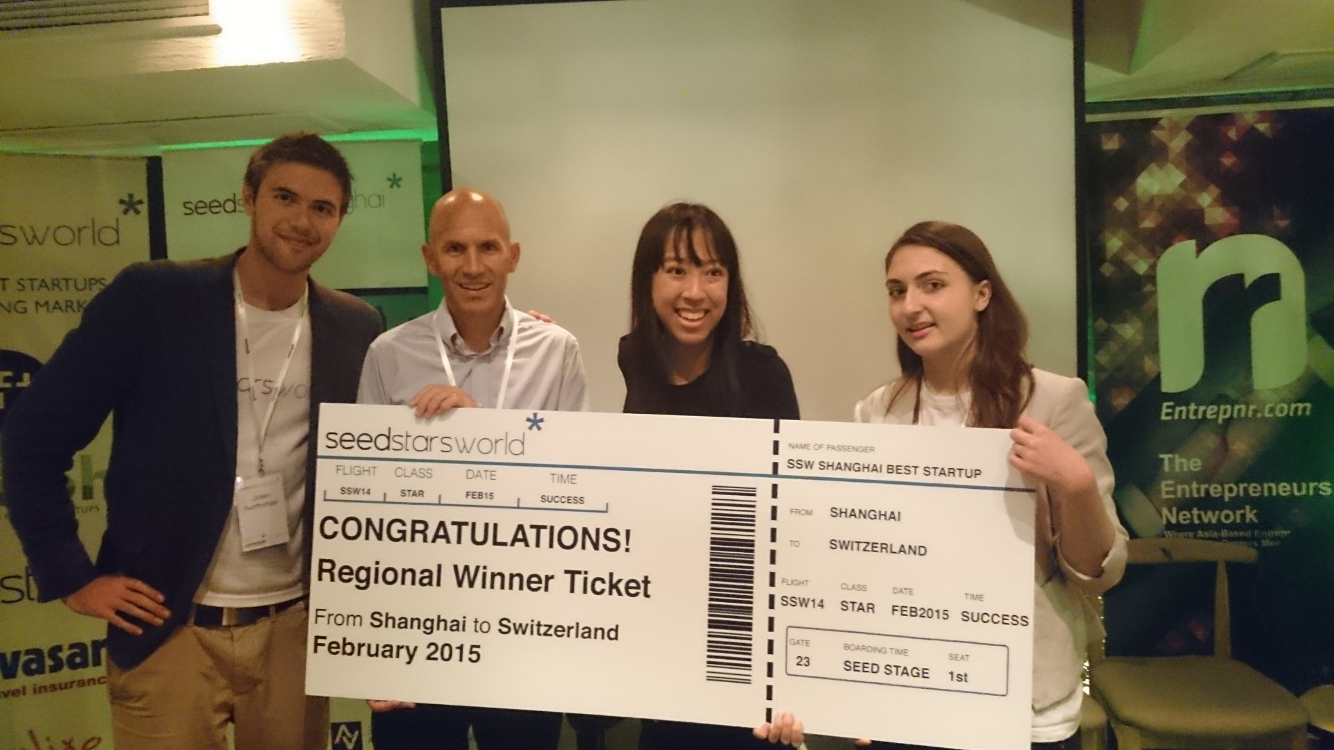 Seedstars Shanghai winner Rumarocket with SSW team and Swissnex China's CEO Pascal Marmier