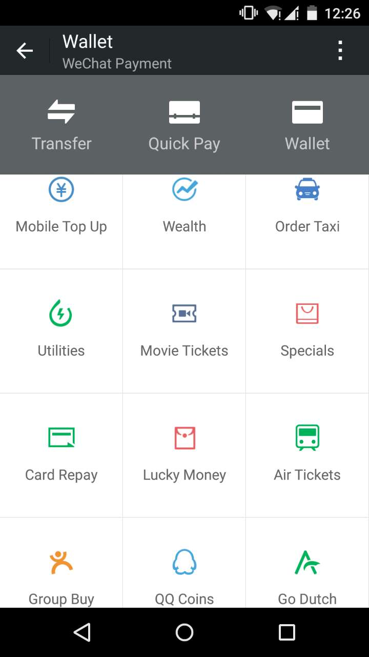 Users are able to make payments for a variety of services within WeChat.