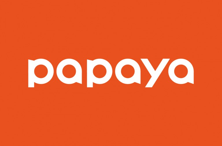 papaya_white font with orange BG in square