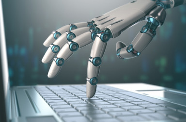 51001614 - robotic hand, accessing on laptop, the virtual world of information. concept of artificial intelligence and replacement of humans by machines.