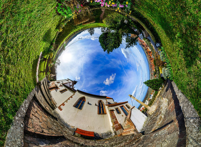 54981675 - chapelle sainte sebastien little planet. curvature of space. touristic concept.
