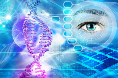 34795002 - dna helix and human eye in abstract blue background