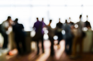 42702038 - abstract blurred people in press conference event, business concept