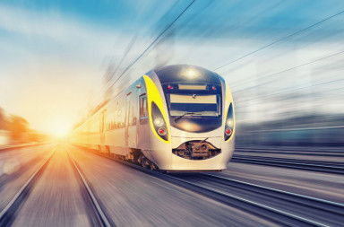 46649818 - modern high speed train on a clear day with motion blur