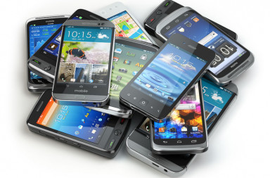 47858376 - choose mobile phone. heap of the different smartphones. 3d