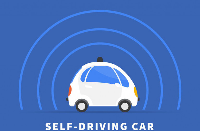 51292592 - self-driving car flat illustration on blue background. conceptual symbol of intelligent controlled driverless car with sensors