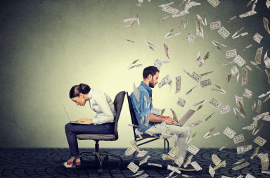 52080686 - employee compensation economy concept. woman working on laptop sitting next to young  man under money rain. pay difference concept.