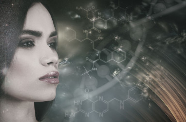 57855275 - evolution, female portrait against abstract science backgrounds