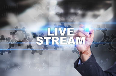 65325970 - businessman is drawing on virtual screen. live stream concept.
