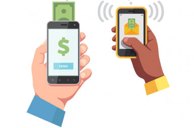 48484522 - people sending and receiving money wirelessly with their mobile phones.