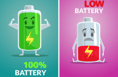 55211920 - low battery and full battery. vector flat illustration