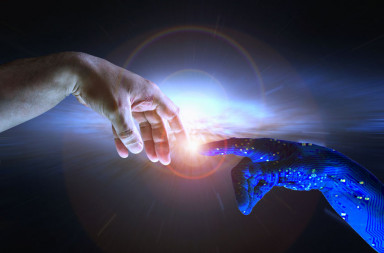 54659249 - ai hand reaches towards a human hand as a spark of understanding technology reaches across to humanity. artificial intelligence concept with copy space area. blue flesh image.