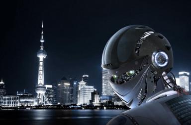 46115463 - robot stylish on shanghai city background