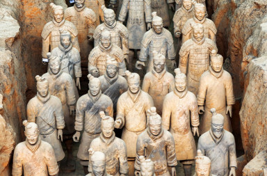 52456522 - xi'an, shaanxi province, china - october 28, 2015: terracotta infantrymen of the famous terracotta army inside the qin shi huang mausoleum of the first emperor of china.