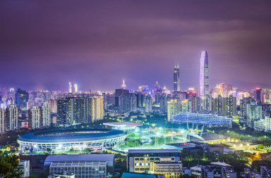 30148147 - shenzhen, china city skyline at twilight.