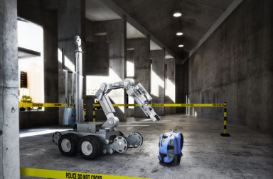 58972052 - police controlled bomb squad robot inspecting a suspicious backpack item inside a building interior.3d rendering.