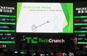 Basement Hackers demonstrating their project, Blind Guide Rodog (Image credit: TechNode)