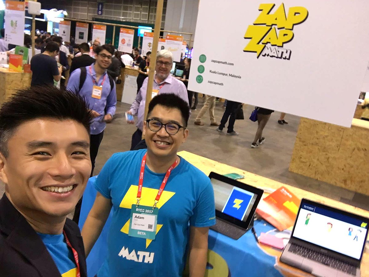 CEO of Zap Zap Math Henry Chui with Co-founder Adam Goh I-Ming. Photo credit: Rise 2017 Twitter account.