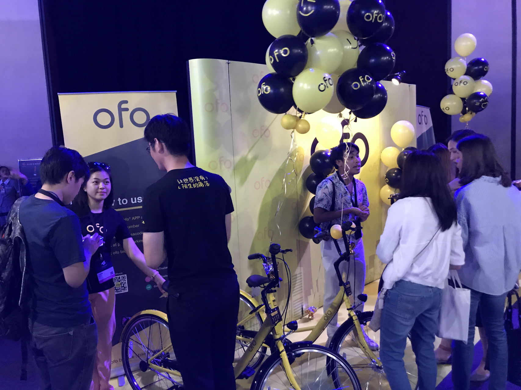 The ofo stand at the Techsauce conference in Thailand (Image credit: TechNode)