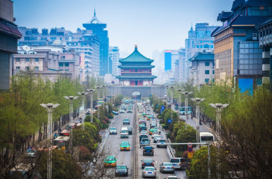 20381114 - the street scene of xian,bell tower in the center of ancient city,china