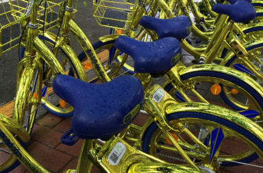 Dazzling even in the rain—Coolqi bikes in Shenzhen (Image credit: TechNode)