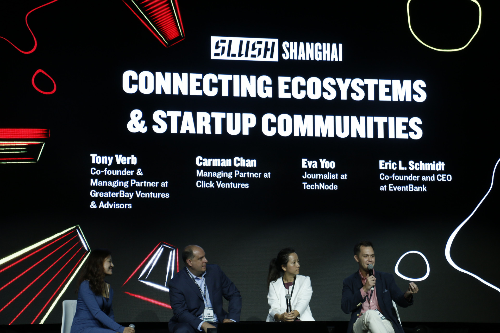 Eva Yoo, Eric Schmidt, Carman Chan, and Tony Verb at Slush Shanghai