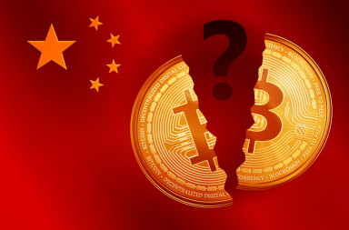 86205169 - split golden bitcoin coin symbol with question mark on the china flag. crypto currency golden coin bitcoin symbol on china flag background.