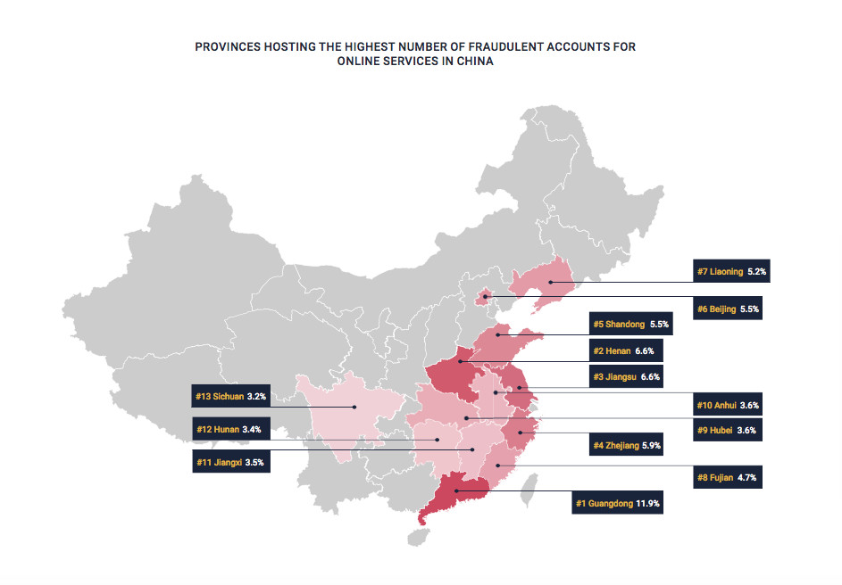 online fraud China map