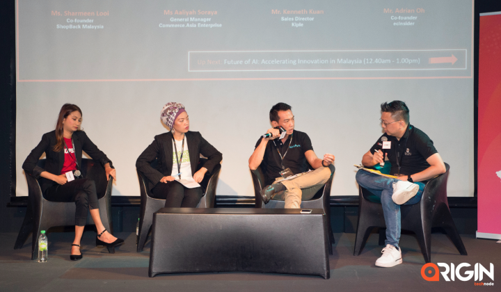 Sharmeen Looi, Co-founder of ShopBack MY; Aaliyah Soraya, GM of Commerce.Asia Enterprise; Kenneth Kuan, Sales Director of Green Packet (Kiplebiz), Adrian Oh, co-founder of ecInsider speak at the e-commerce panel at Origin conference.