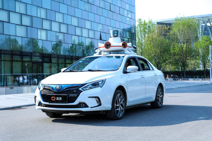 In this image from Didi Chuxing, a DiDi autonomous driving vehicle is parked at DiDi's headquarters in Beijing (Image credit: Didi Chuxing)